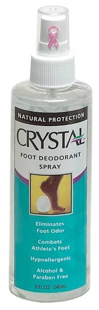 Spray deodorant on feet