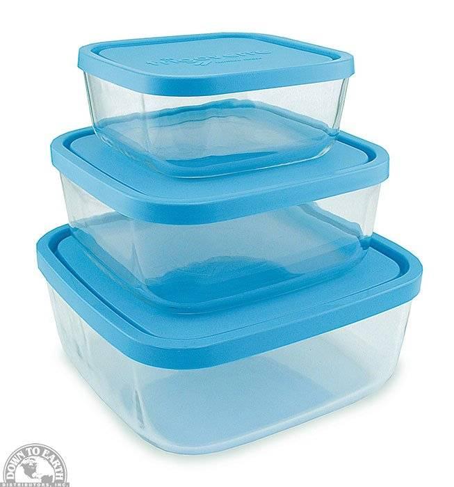 Frigoverre Square Storage Dish Set Blue Lids Set Of 3