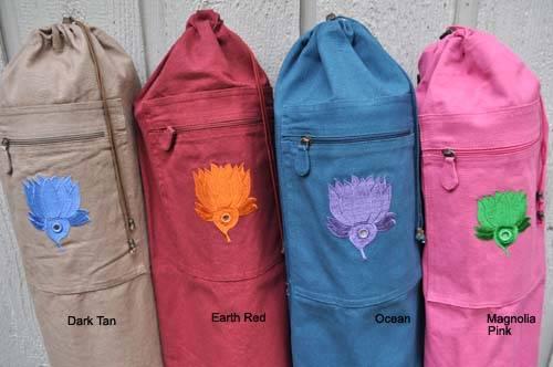 Barefoot Yoga - Barefoot Yoga Duffel Style Cotton Canvas Yoga Mat Bag With Embroidered Lotus - Burgandy