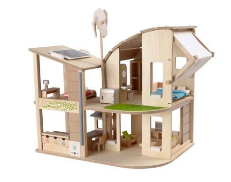 Plan Toys - Plan Toys Green Dollhouse with Furniture