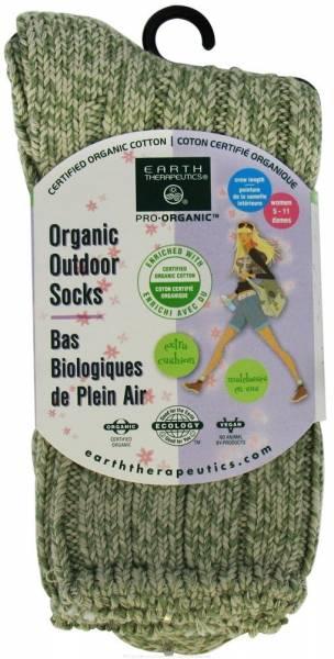 Earth Therapeutics - Earth Therapeutics Women's Outdoor Rib Crew Socks - Light Green