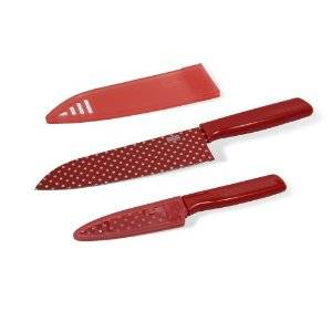 Kuhn Rikon - Kuhn Rikon Colori Art Chef's and Paring Knife Set - Red Polka Dot