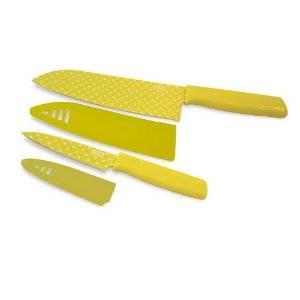 Kuhn Rikon - Kuhn Rikon Colori Art Chef's and Paring Knife Set - Yellow Polka Dot