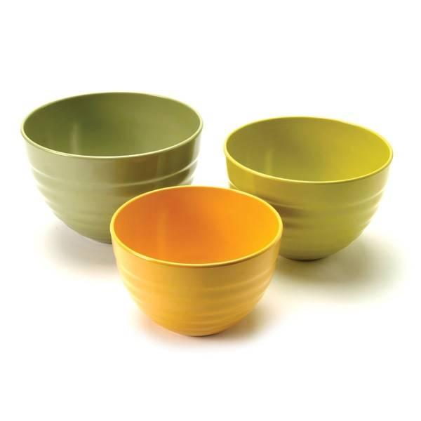 Norpro - Norpro Bamboo Melamine Ribbed Bowls (Set of 3)