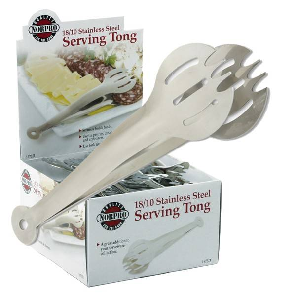 Norpro - Norpro Stainless Steel Serving Tong Round Slot with Prong