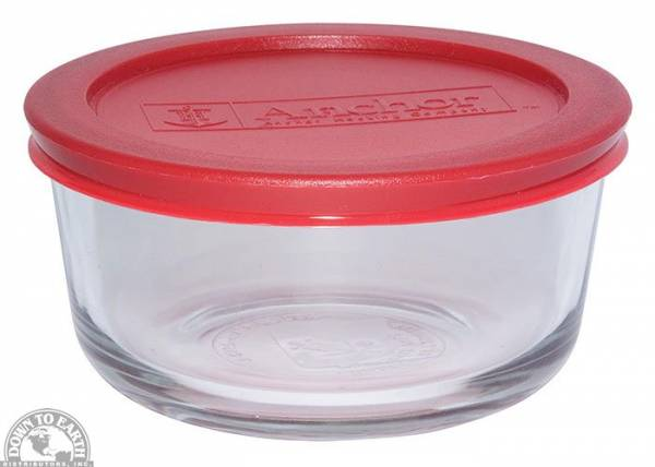 Down To Earth - Anchor Round Storage Dish 16 oz - Red Lid