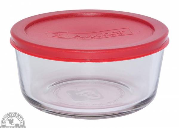 Down To Earth - Anchor Round Storage Dish 32 oz - Red Lid