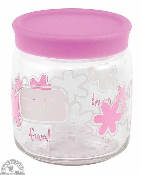 "Down To Earth - Bormioli Rocco Fun Storage Jar 4.75"" - Pink"