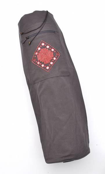 Barefoot Yoga - Barefoot Yoga Cotton Canvas Yoga Mat Bag with Indian Mirror & Beadwork - Grey