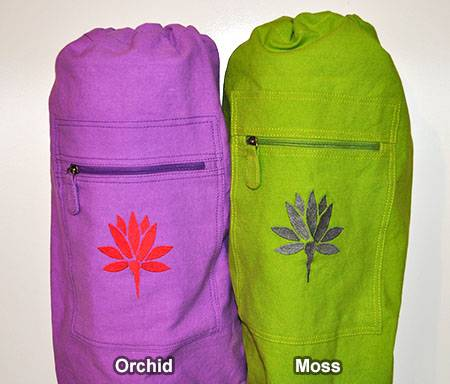 Barefoot Yoga - Barefoot Yoga Cotton Canvas Yoga Mat Bag With Embroidered Lotus - Moss