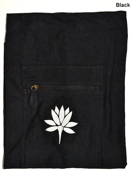 Barefoot Yoga - Barefoot Yoga Duffel Style Cotton Canvas Yoga Mat Bag With Embroidered Lotus - Black