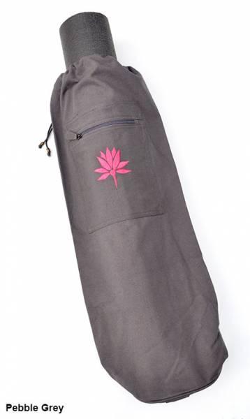 Barefoot Yoga - Barefoot Yoga Duffel Style Cotton Canvas Yoga Mat Bag With Embroidered Lotus - Pebble Grey