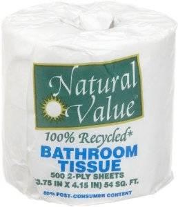 Natural Value - Natural Value Single Bath Tissue 500 Sheets ct (48 Pack)