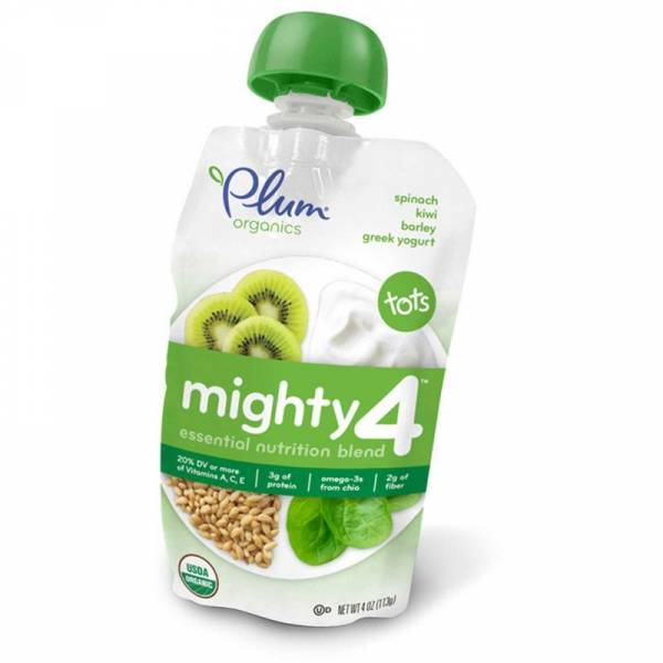Plum Organics - Plum Organics Mighty 4 Blend 4 oz - Spinach Kiwi Barley & Greek Yogurt (6 Pack)