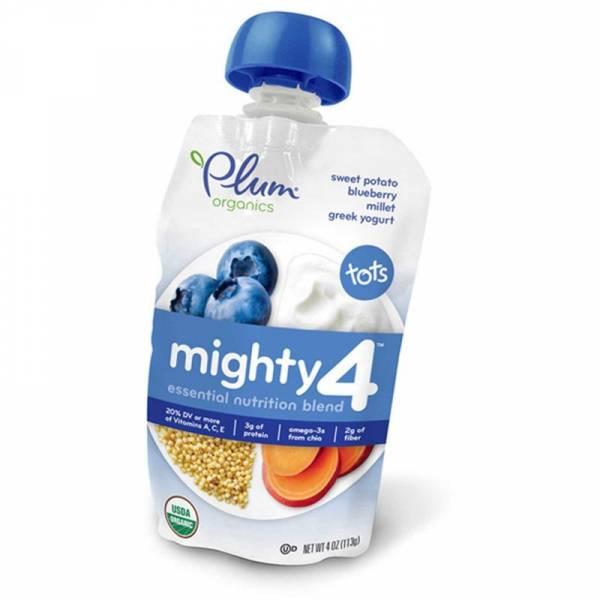 Plum Organics - Plum Organics Mighty 4 Blend 4 oz - Sweet Potato Blueberry Millet & Greek Yogurt (6 Pack)