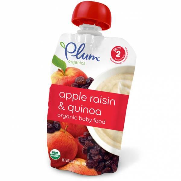 Plum Organics - Plum Organics Second Blends 3.5 oz - Apple Raisin and Quinoa (6 Pack)
