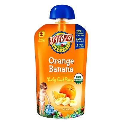 Earth's Best Baby Foods Organic Stage 2 - Orange Banana ...