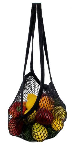 Eco-Bags Products - Eco-Bags Products String Bag Long Handle Natural Cotton Black