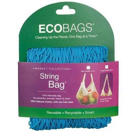 Eco-Bags Products - Eco-Bags Products String Bag Long Handle Natural Cotton Caribbean Blue