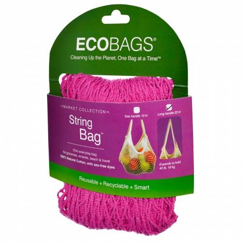Eco-Bags Products - Eco-Bags Products String Bag Long Handle Natural Cotton Fuschia