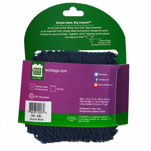 Eco-Bags Products - Eco-Bags Products String Bag Long Handle Natural Cotton Storm Blue
