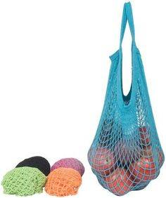 Eco-Bags Products - Eco-Bags Products String Bag Long Handle Natural Cotton Washed Blue