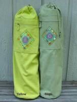 Barefoot Yoga Cotton Canvas Yoga Mat Bag with Indian Mirror & Beadwork - Green