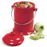 Garden - Composting Supplies - Norpro - Norpro Ceramic Compost Crock 1 gal- Red