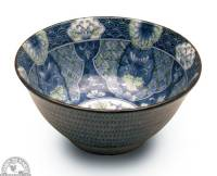 """Kitchen - Dishware - Down To Earth - Bowl 6"""" - Blue with Green Lotus"""