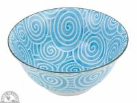 """Kitchen - Dishware - Down To Earth - Bowl 6"""" - Light Blue Spirals"""