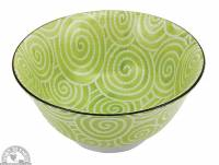 """Kitchen - Dishware - Down To Earth - Bowl 6"""" - Light Green Spirals"""