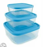 Kitchen - Bags & Containers - Down To Earth - Frigoverre Square Storage Dish Set (Set of 3)