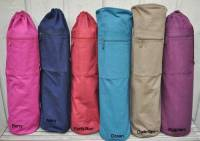 Barefoot Yoga Cotton Canvas Yoga Mat Bag with OM - Chocolate