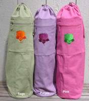 Barefoot Yoga Cotton Canvas Yoga Mat Bag With Embroidered Lotus - Purple