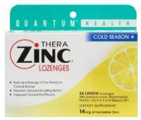 Health & Beauty - Cough Syrup & Lozenges - Quantum - Quantum Cold Season+ TheraZinc Lozenges Lemon 24 loz