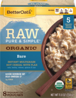 Grocery - Oatmeal - Better Oats - Better Oats Raw Pure & Simple Bare 8 Pouches (6 Pack)