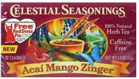 Gluten Free - Tea & Grain Coffee - Celestial Seasonings - Celestial Seasonings Acai Mango Zinger Herbal Tea 20 Bags