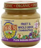 Grocery - Baby Foods - Earth's Best  - Earth's Best Baby Foods Organic Brown Rice, Banana & Plums 4 oz (12 Pack)