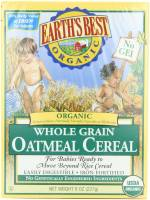 Grocery - Baby Foods - Earth's Best  - Earth's Best Baby Foods Organic Oatmeal Cereal 8 oz (12 Pack)
