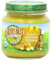 Grocery - Baby Foods - Earth's Best  - Earth's Best Baby Foods Organic Peach Banana Oatmeal 4 oz (12 Pack)