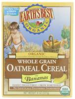Grocery - Baby Foods - Earth's Best  - Earth's Best Baby Foods Organic Whole Grain Oatmeal Cereal with Bananas 8 oz (12 Pack)