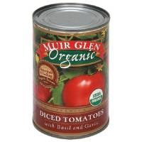 Muir Glen Organic Diced Basil & Garlic Tomatoes 14.5 oz (12 Pack)