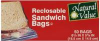 Home Products - Bags, Pouches & Boxes - Natural Value - Natural Value Reclosable Sandwich Bags 50 ct (12 Pack)