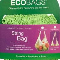 Home Products - Bags, Pouches & Boxes - Eco-Bags Products - Eco-Bags Products String Bag Long Handle Natural Cotton Lime