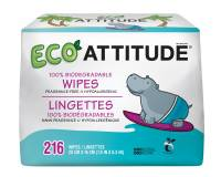 Baby - Wipes - Attitude - Attitude Eco Baby Wipes Tripack 216 ct