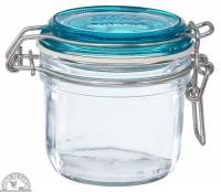 Jars - Canning Jars - Down To Earth - Fido Jar 6.75 oz with Sky Blue Top